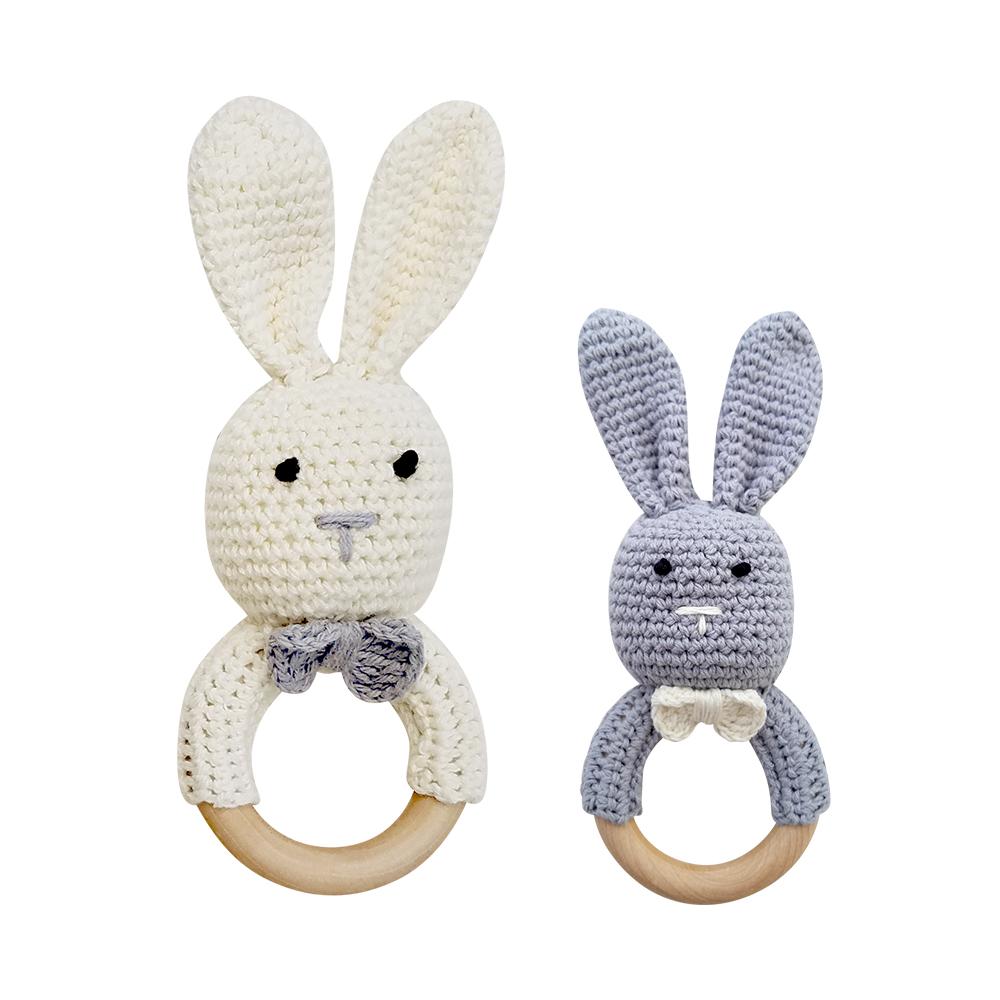 Mali-Wear-天然原木手工嬰幼兒兔兔造型手搖鈴固齒玩具
