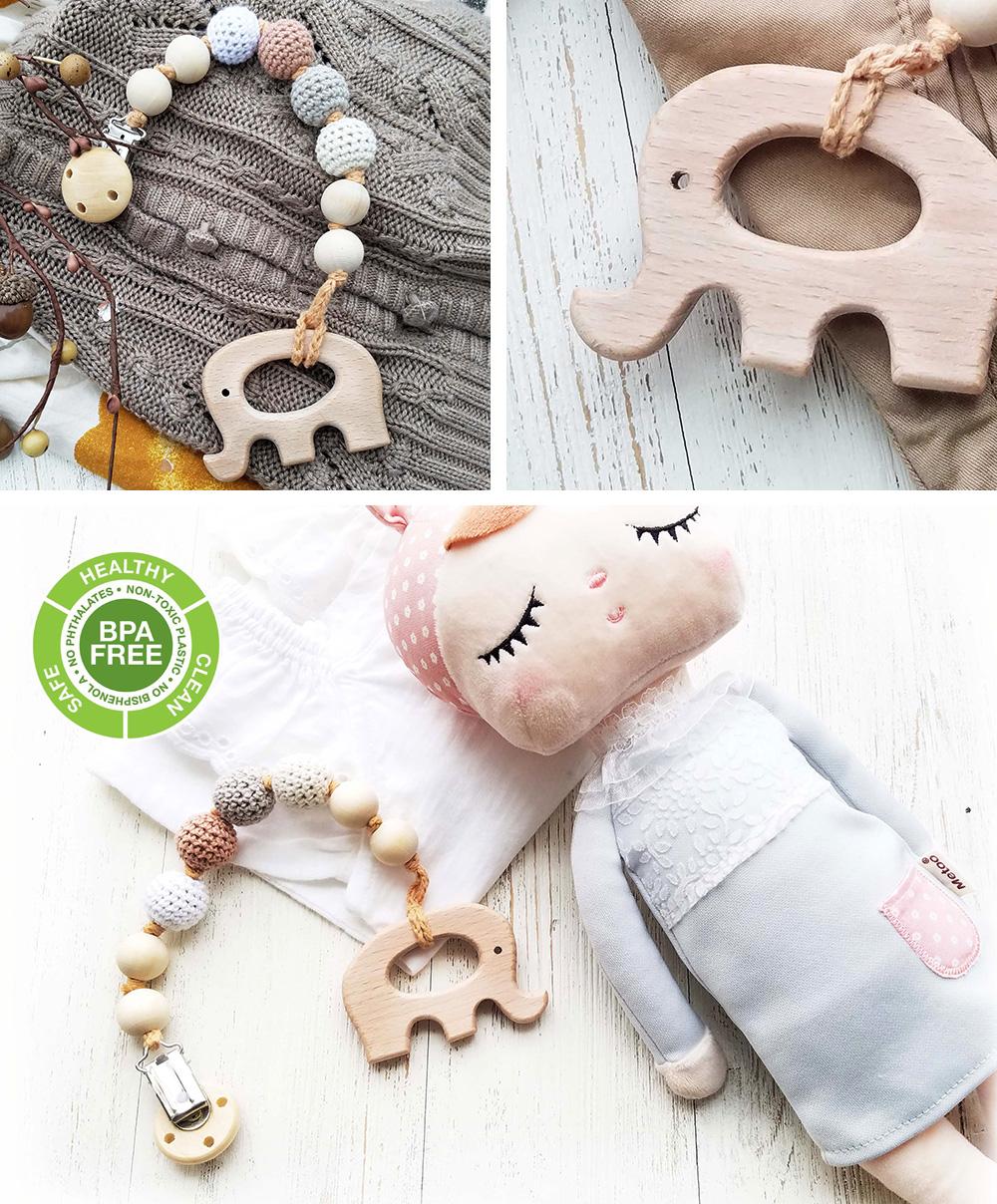 美國 Mali Wear 天然原木手工嬰幼兒有機棉奶嘴鏈+原木固齒器 薰衣草鴿子款