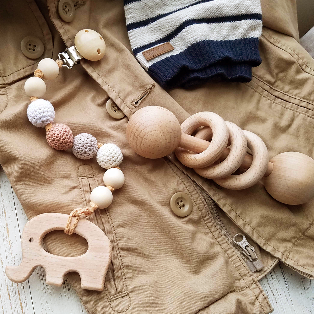 美國 Mali Wear 天然原木手工 嬰幼兒蒙特梭利 手搖鈴玩具