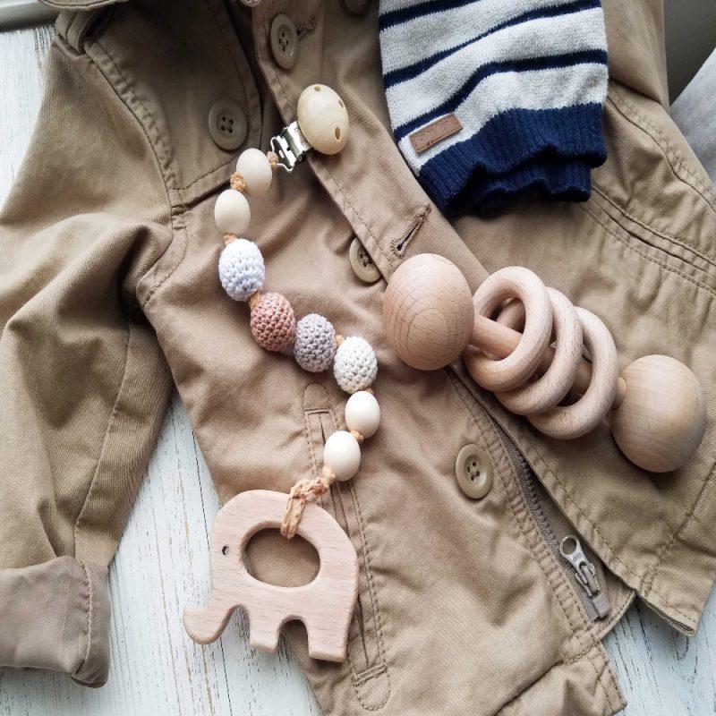 美國 Mali Wear 天然原木手工嬰幼兒有機棉奶嘴鏈+原木固齒器 奶茶大象款
