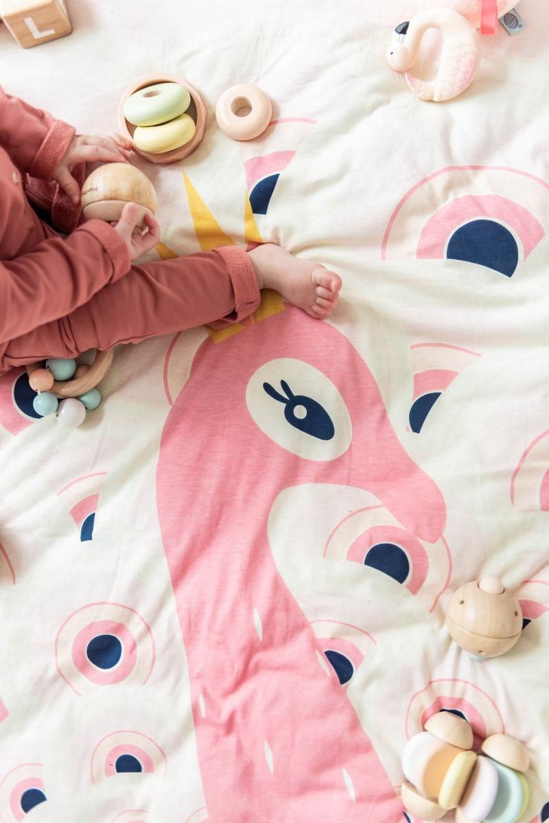 比利時 play & go 玩具整理袋 柔棉系列 (粉紅孔雀)