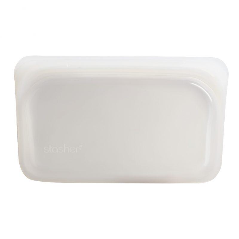 美國 Stasher 矽膠密封袋 長形 雲霧白