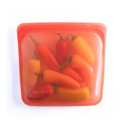 美國 Stasher 矽膠密封袋 方形 柑橙橘