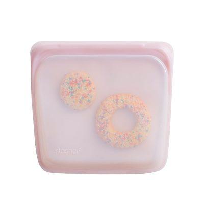 美國 Stasher 矽膠密封袋 方形 玫瑰石英粉