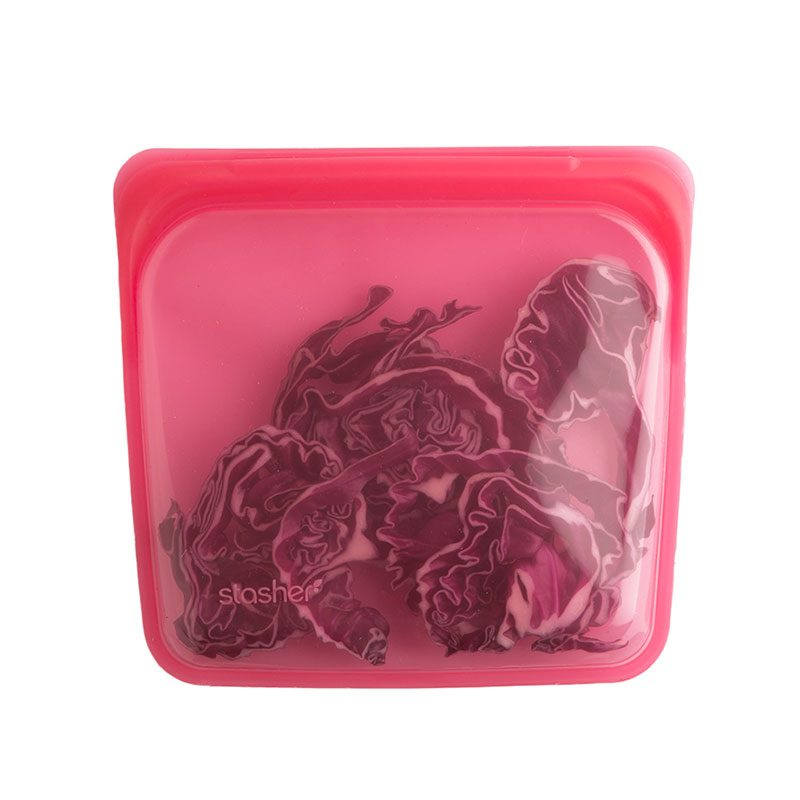 美國 Stasher 矽膠密封袋 方形 野莓紅