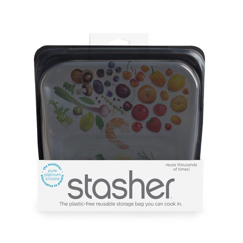 美國 Stasher 矽膠密封袋 方形 曜石黑