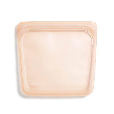美國 Stasher 矽膠密封袋 方形 蜜桃粉