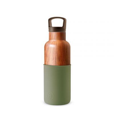 美國 HYDY 時尚不銹鋼保溫水瓶 480ml 木紋瓶 (軍綠)