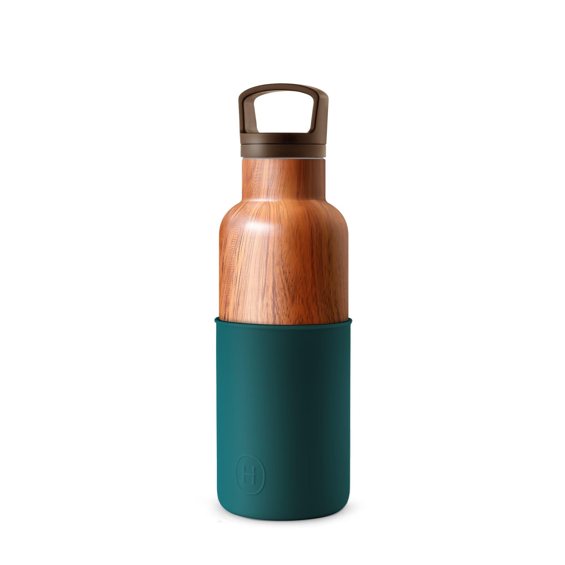 美國 HYDY 時尚不銹鋼保溫水瓶 480ml 木紋瓶 (孔雀綠)