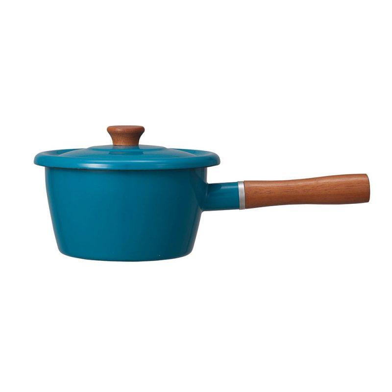 CB Japan 北歐系列琺瑯原木加蓋片手湯鍋 - 土耳其藍