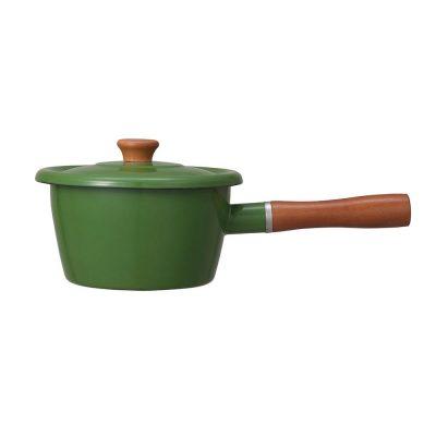 CB北歐系列琺瑯原木加蓋片手湯鍋-森林綠-(1)