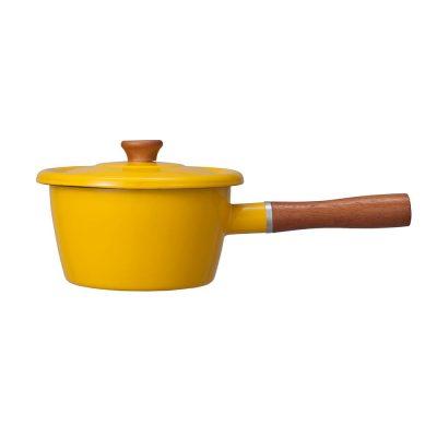 CB Japan 北歐系列琺瑯原木加蓋片手湯鍋 - 芥末黃