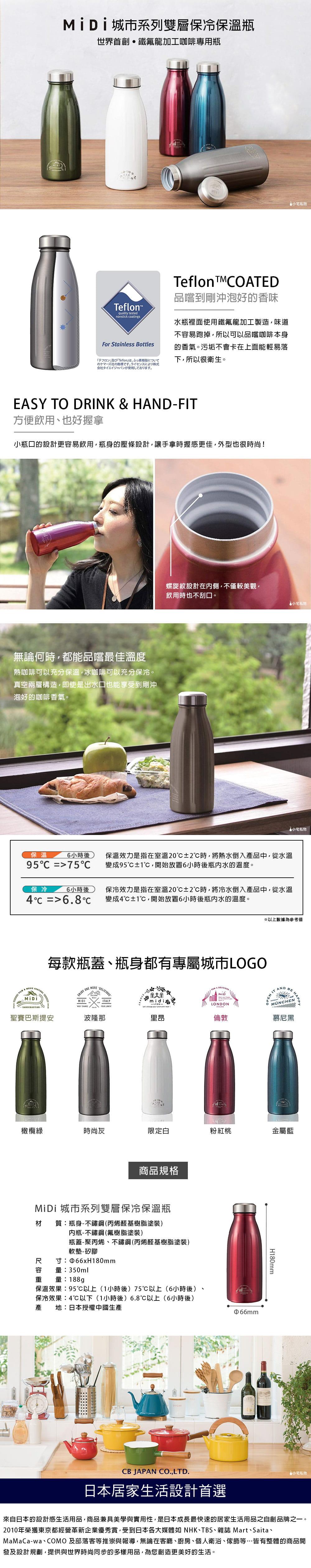 CCB Japan MiDi 城市系列雙層保冷保溫瓶350ml - 金屬藍