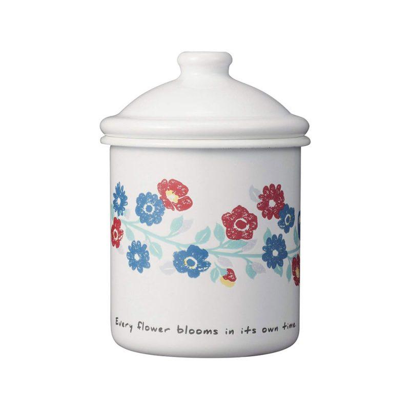 CB Japan 北歐系列琺瑯置物罐 - 花彩白