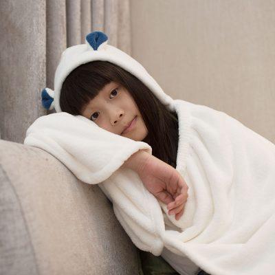CB-動物造型超細纖維披巾-有帽(北極熊白)2