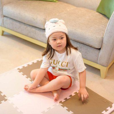 CB-動物造型超細纖維浴帽(小白兔粉)2