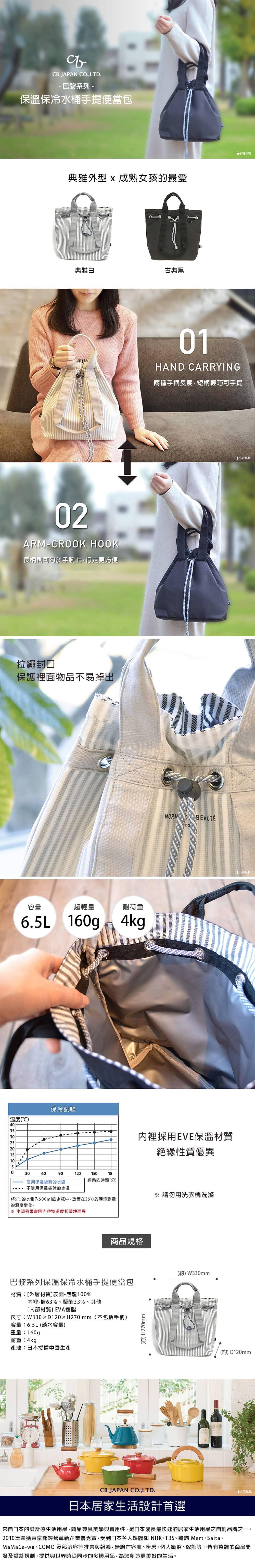 CB Japan 巴黎系列 保溫保冷水桶手提便當包 (2色可選)