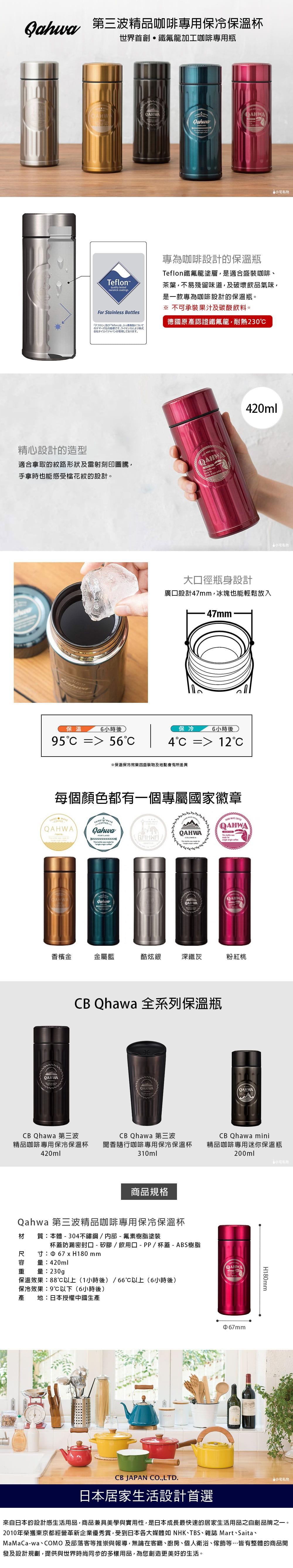 CB Japan Qahwa 第三波精品咖啡專用保冷保溫杯 粉紅桃