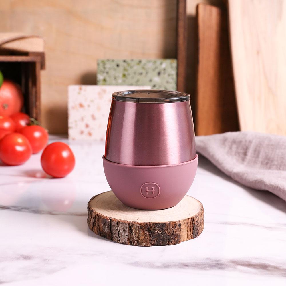 美國 HYDY Delicia 雙層隨行保溫杯 蛋型杯 玫瑰金 (乾燥玫瑰) 240ml