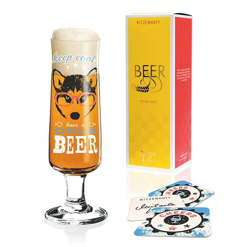 德國 RITZENHOFF BEER 新式啤酒杯-酷酷眼鏡狗
