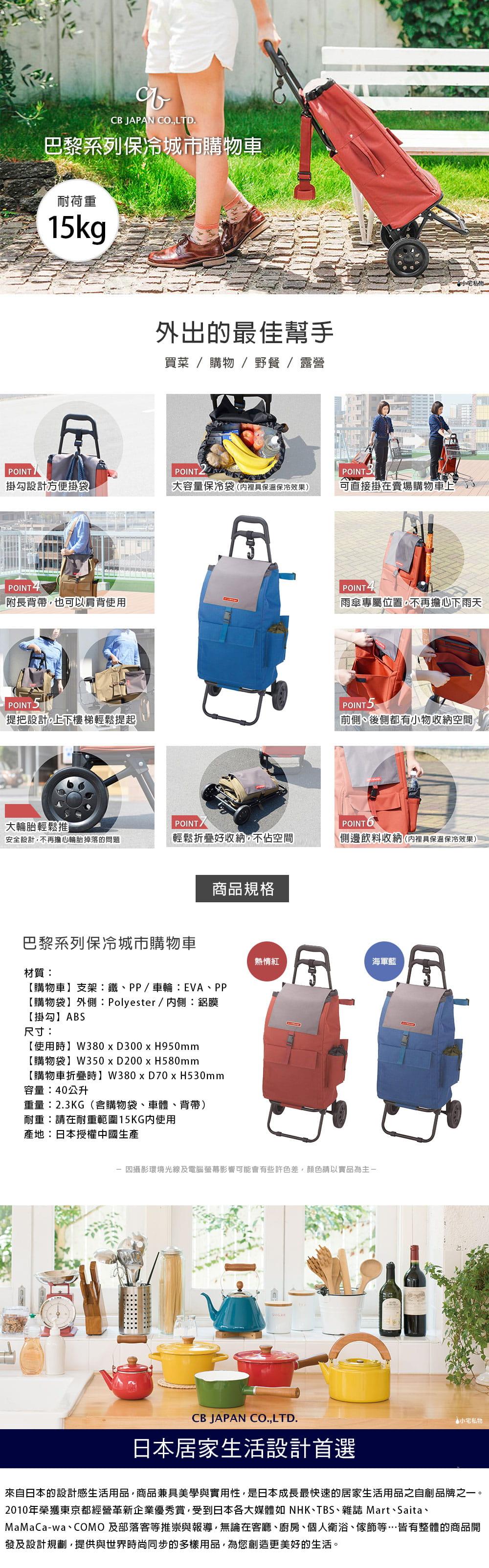 CB Japan 巴黎系列 保冷城市購物車 - 海軍藍