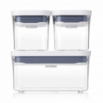 美國 OXO POP 按壓保鮮盒 輕巧三件組