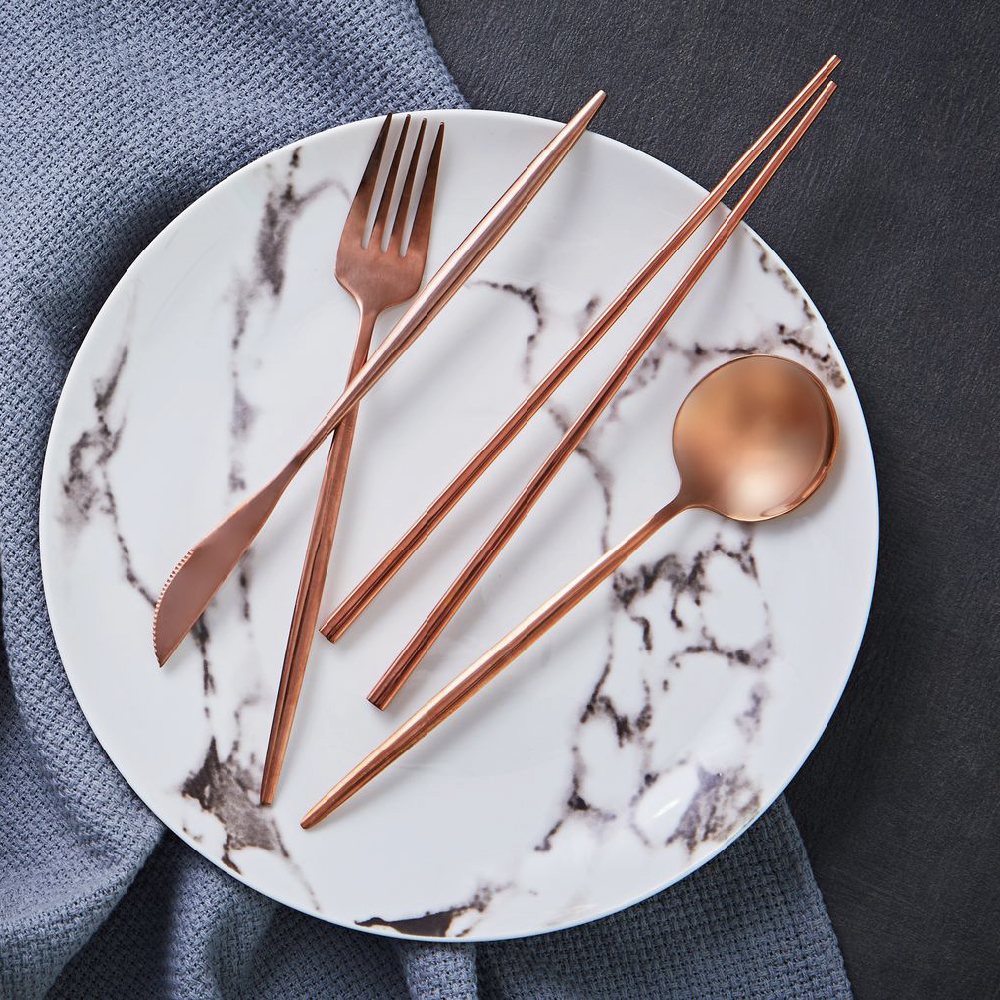JEmarble 天然大理石 歐風經典餐具四件組 玫瑰金款