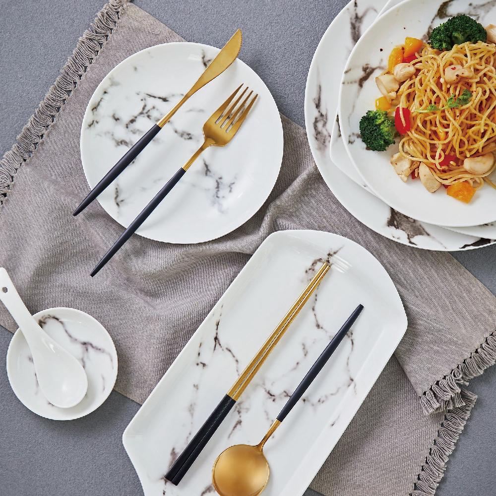 JEmarble 歐風經典餐具四件組 黑金款