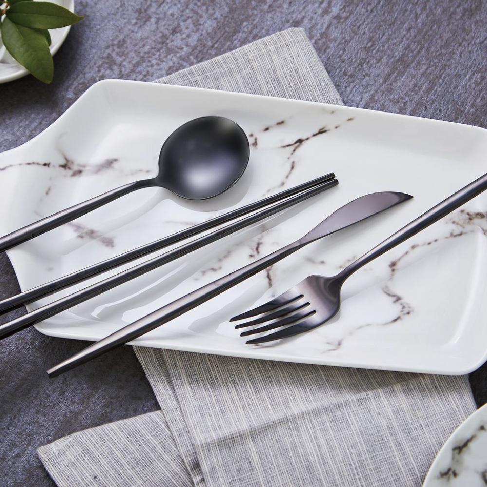 JEmarble 天然大理石 歐風經典餐具四件組 極簡黑款