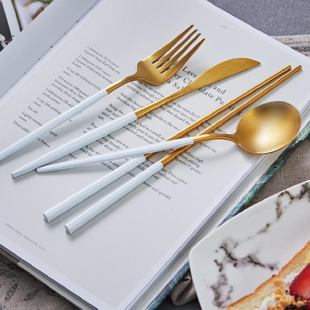JEmarble 歐風經典餐具四件組 白金款