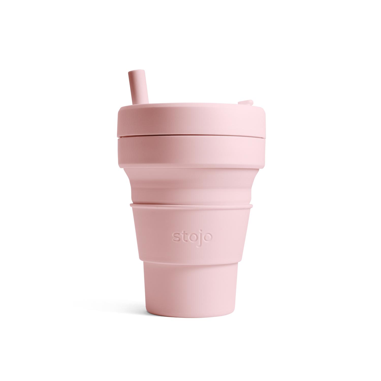 美國 Stojo 折疊伸縮杯 16oz 撫子粉 (布魯克林限定版)