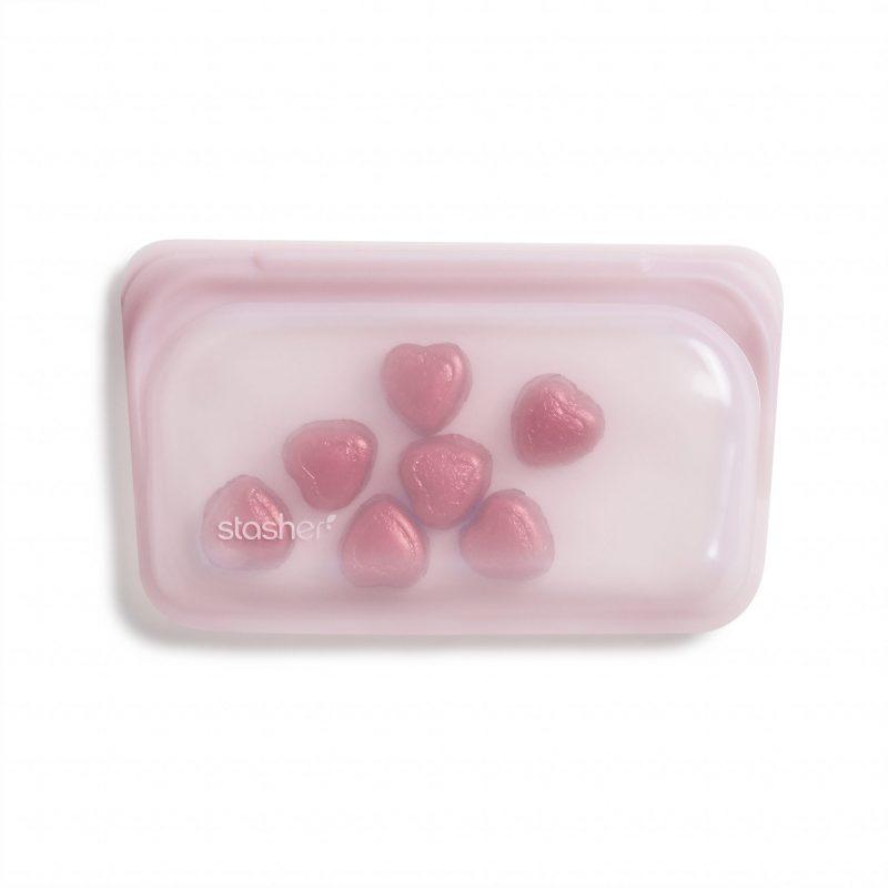 美國 Stasher 矽膠密封袋 長形 玫瑰石英粉