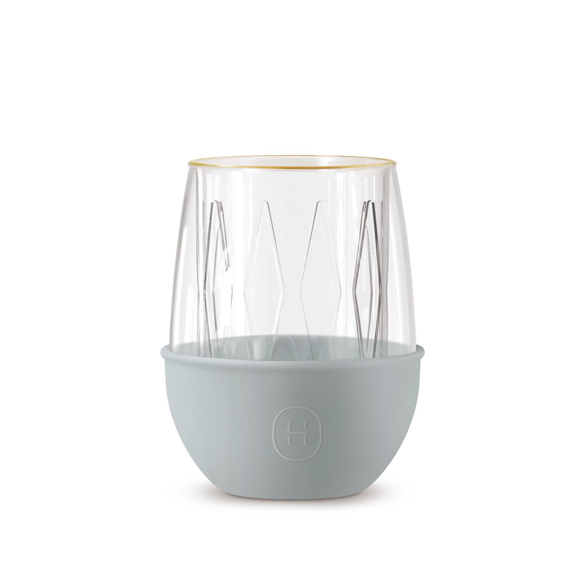 美國 HYDY LUCIDO 雙層玻璃 蛋型杯 菱格紋杯 (積雲) 240ml