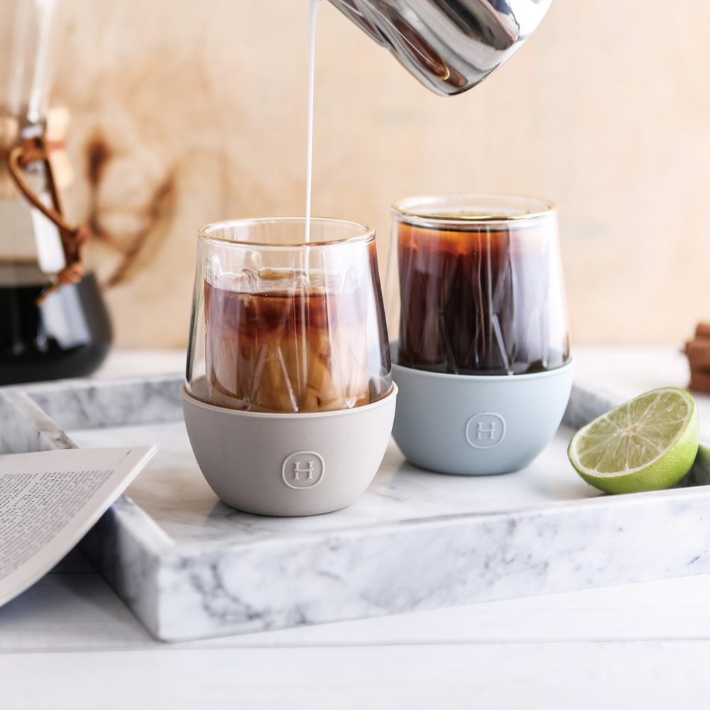 美國 HYDY LUCIDO 雙層玻璃 蛋型杯 菱格紋杯 (尤加利) 240ml