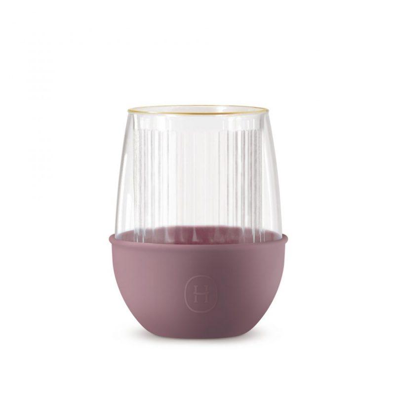 美國 HYDY LUCIDO 雙層玻璃 蛋型杯 線條紋杯 (乾燥玫瑰) 240ml