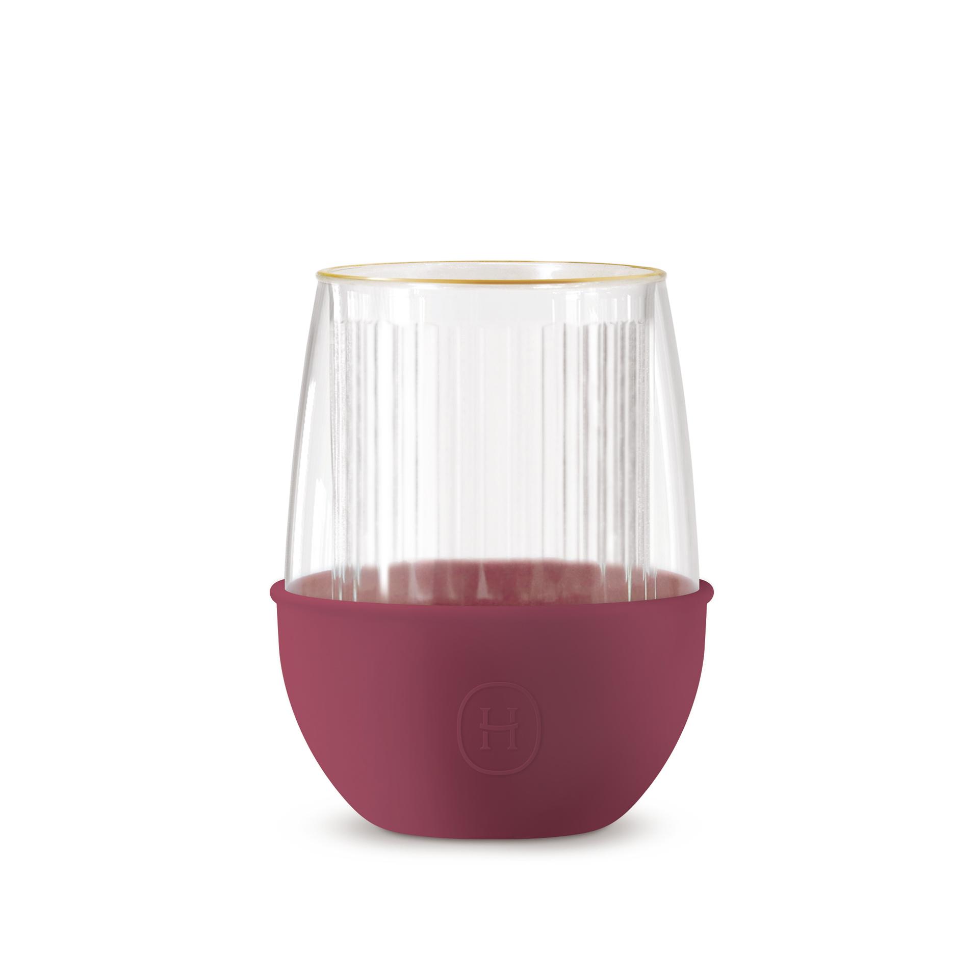 美國 HYDY LUCIDO 雙層玻璃 蛋型杯 線條紋杯 (桑格莉亞) 240ml