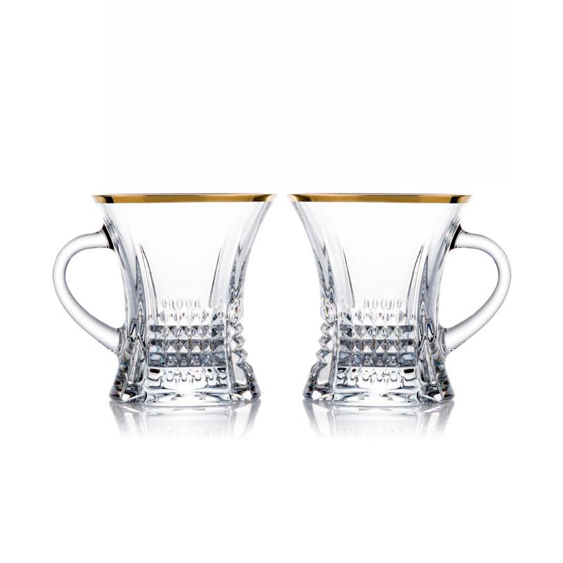 歐洲 ROGASKA 水晶玻璃 DIAMOND 純萃精鑽 茶杯(金)  2支裝