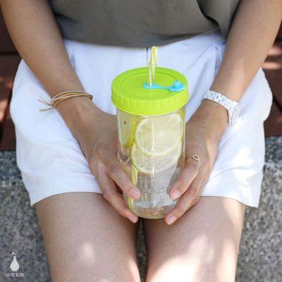 美國 Ball 24oz 寬口梅森罐 + QQ彩色吸管杯蓋組
