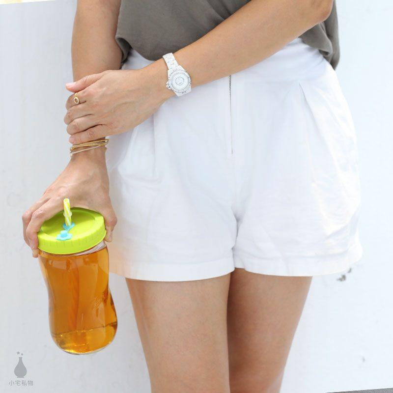 美國 Ball 28oz 梅森寬口螺旋罐 + QQ彩色吸管杯蓋組