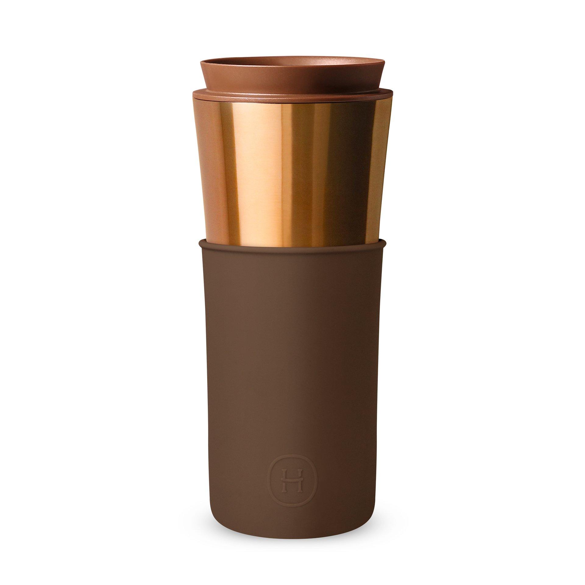 美國 HYDY 兩用隨行保溫杯 450ml 古銅金杯 (摩卡)