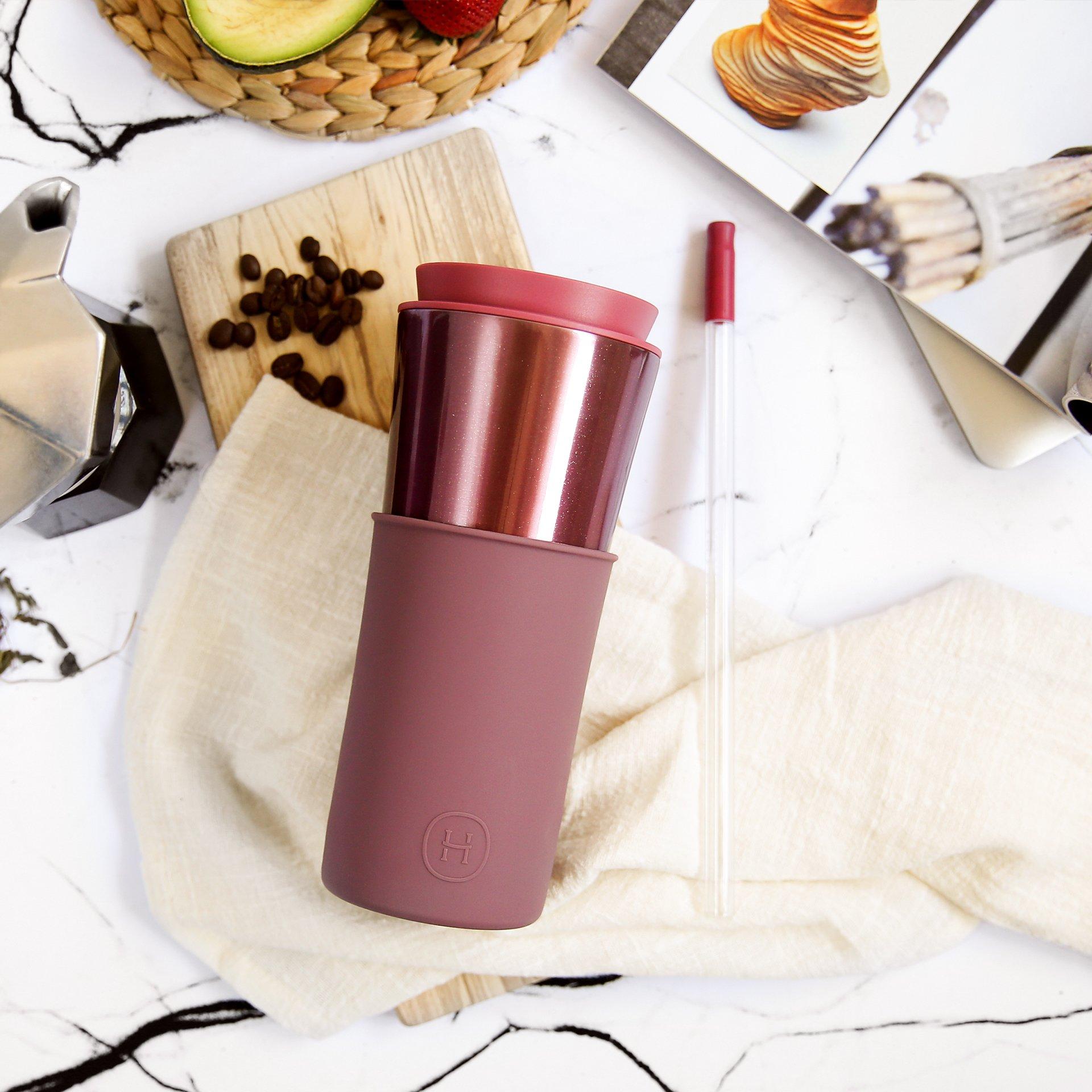 美國 HYDY 兩用隨行保溫杯 450ml 玫瑰金杯 (乾燥玫瑰)