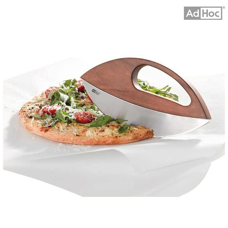 德國 AdHoc 實木不銹鋼半圓香料披薩刀 (含座) KH50