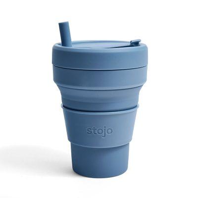 美國 Stojo 折疊伸縮杯 24oz 鋼鐵藍