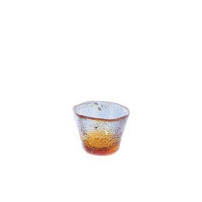 日本津輕 手作黃色琉璃清酒杯