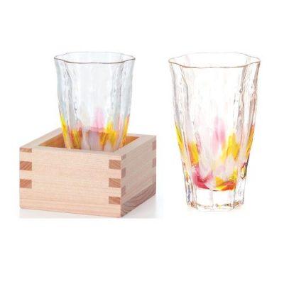 日本津輕 手作清酒杯-山櫻黃(含木盒)