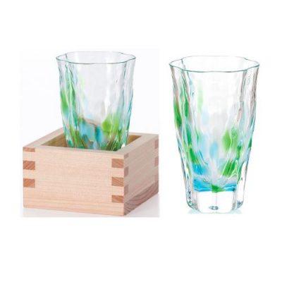 日本津輕 手作清酒杯-萌綠(含木盒)