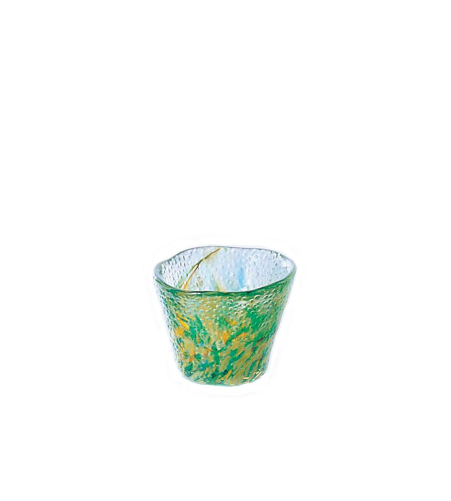 日本津輕 手作綠色琉璃清酒杯 1