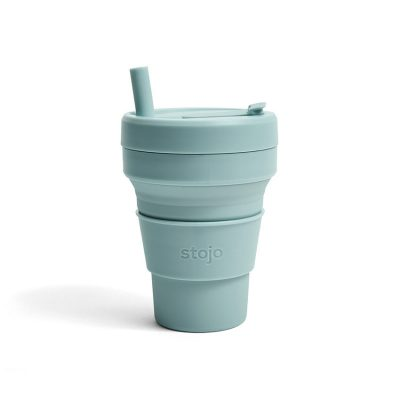 美國 Stojo 折疊伸縮杯 16oz 海水藍
