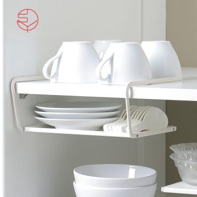 SHIMOYAMA_兩用廚櫃下:桌面分層置物金屬收納架-白-1