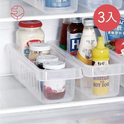 SHIMOYAMA_冰箱冷藏多用途調味瓶收納盒(附隔板)-3入